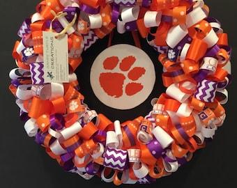 Clemson University Tigers Ribbon Wreath