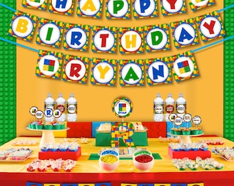 Colorful Building Blocks Birthday Party Printable Party Decorations Supplies - Super Set Party Kit PK-30