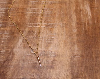 Gold Spike Rosary Chain Necklace