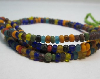 "Multicolor Small Glass Rondelle Beads,  Indonesian Bead, 4mm Boho Bead (14"" loose strand)"
