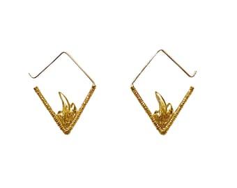 Fire Earrings, Flame Earrings, Geometric Earrings, V Earrings, Statement Earrings, Triangle Hoop Earrings, Silver Hoops, Gold Hoops