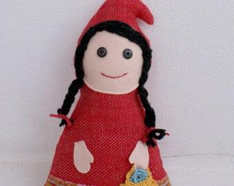 Red Riding Hood-handwoven softie, plush, pillow