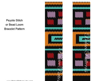 Bracelet Pattern for Peyote Stitch or Bead Loom Weaving - PP138 Delica Bracelet Pattern