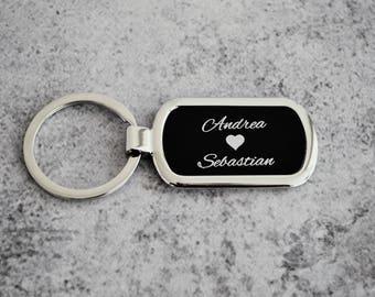Personalized Rectangle Keychain - Custom Engraved Keyring - Engraved Keychain - Black Keychain - Monogrammed Keychain - Wife Keychain