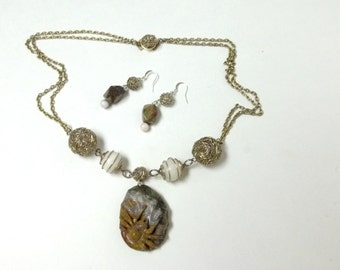 OOAK Spider Necklace and Earrings Set, Carved and pierced stone pendant ,Wire Ball beads, and Caged white Quarts