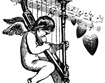 EZ Mounted Rubber Stamp Victorian Cherub playing Harp Music Heart Altered Art Craft Scrapbooking Cardmaking Collage Supply.