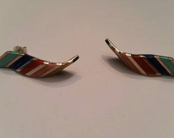 Native American SAS earrings Inlay Sterling Silver