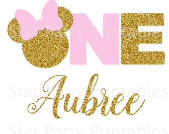 1st Birthday, One, Personalized Minnie Mouse Digital Image for T shirt, Printable Iron On Transfer, Sticker custom Birthday Shirt image