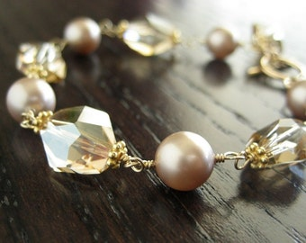Full of Grace...Swarovski Pearl and Cosmic Crystal Bracelet-Gold filled...Free Matching Earrings...FREE SHIPPING