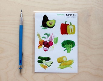 Veggie Stickers, Sheet of 6, A6