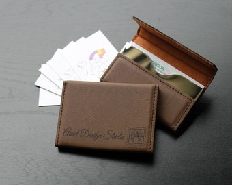 Personalized Business Card Holder, Custom Business Card Holder, Engraved Business Card Holder, Leather Business Card Holder --BCH-LDB-ASSET