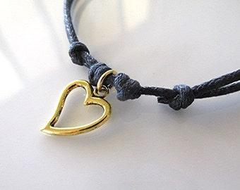 Heart anklet heart ankle bracelet boho anklet grunge anklet vegan jewelry hippie adjustable cord gift.