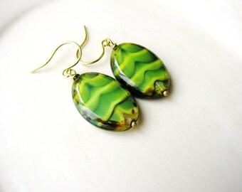 Green Striped Czech Glass Earrings, Glass Bead Earrings, Czech Glass Bead Earrings