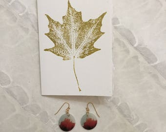 Gold Leaf Monoprint Gift Greeting Card on Strathmore Paper with Deckle Edge with a pair of Red Maple Photograph Dangle Earrings Enclosed
