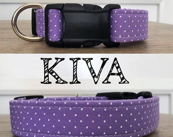 Kiva- Purple Polka Dot Collar