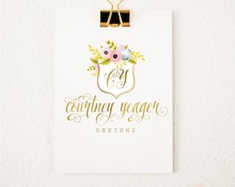 Premade logo - watercolor logo - floral crest logo - calligraphy logo - watercolor logo - floral logo - freshmint paperie