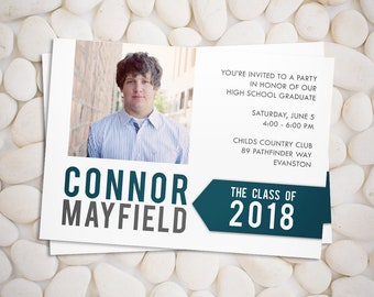 Graduation announcement and party invitation in custom colors, class of 2018, printable photo card
