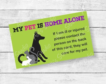Dog Pet Home Alone Emergency ID Contact Card ICE