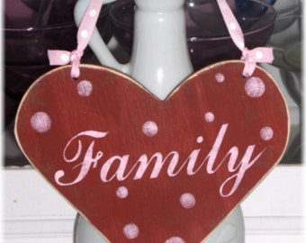Heart Red Sign Family Shabby Cottage Wood Custom