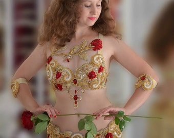 """Belly dance costume, belly dance outfit, dance costume """"Rose"""""""