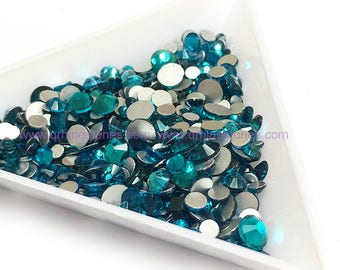 Blue Zircon assorted size Flat Backs High Quality Clear Rhinestones 500pcs