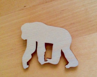Wooden Chimp Brooch Pin, Laser Cut Wood, Animal Brooch, Gift for Her