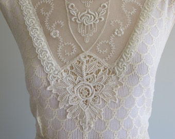 OOAK Bohemian Art Deco 'Nora' Original 1930s Vintage Lace Antique Wedding Dress