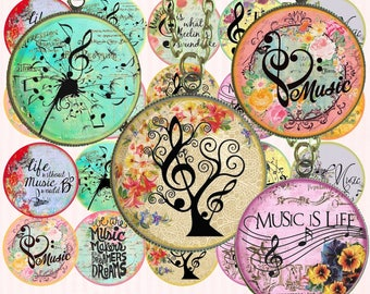 Digital Collage Sheet circles music treble clef score, digital bottlecaps, digital rounds music, one inch circle,  instant download circles