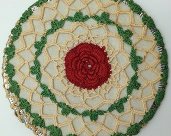 Vintage Crochet Trivet, Vintage Crochet Hot Pad, Collectible Vintage Crochet Trivet, Retro Kitchen Decor