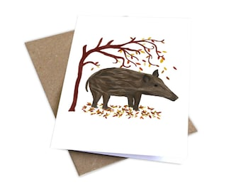 Illustrated Wild Bore Greetings Card, Wild Animal Card, Wild Bore Illustration, Wildlife Card, British Woodland Card, Pig Illustration