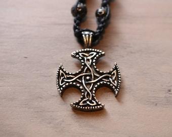 Mens Celtic cross hemp necklace