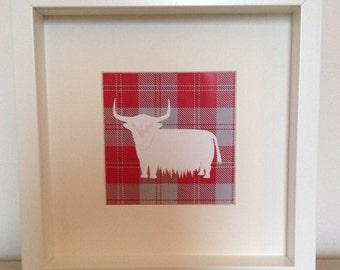 Framed tartan highland cow print