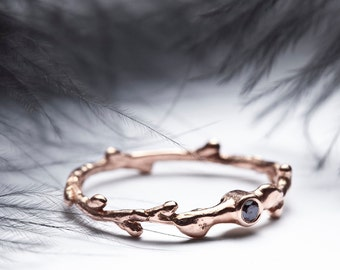 Engagement gold twig band Black diamond ring 14k rose gold pink gold engagement ring Stacking twig ring - Summer weddings - In Her Dreams