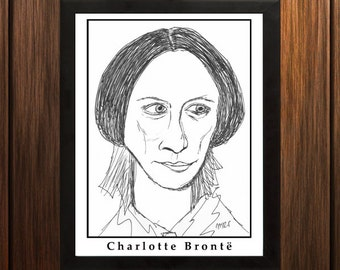 Charlotte Bronte - Sketch Print - 8.5x11 inches - Black and White - Pen - Caricature Poster