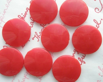 Flat Round Colorful acrylic beads 21mm 8pcs RED
