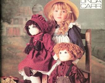"Vintage 9699 Vogue Stuffed Dolls & Clothing Linda Carr Pattern Size 22"" UNCUT Boy And Girl Rag Doll"