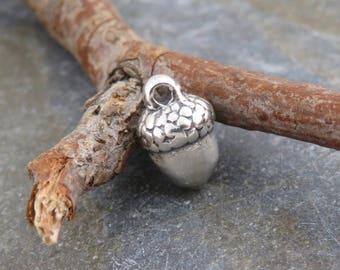 Tiny Solid Sterling Silver Acorn Charm or Petite Pendant - One Piece - Acorn - Oak - Nature Jewelry - ctac