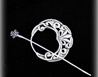 Celtic Shawl Pin Penannular Silver Mimimalistic Brooch Vintage Hammered Minimalist  Cloak Style Scarf Pin Outlander Stick Pin