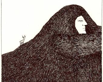 Original drawing - Night mountain / Lost