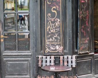 Paris Cafe Fine Art Photograph, Cafe St. Regis, Large Wall Art, French Kitchen Decor, Travel Photograph