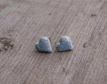 Gray blue ceramic heart earrings, Ceramic stud, blue stud, blue earrings, ceramic hearts, ceramic earrings, surgical steel posts, gift idea