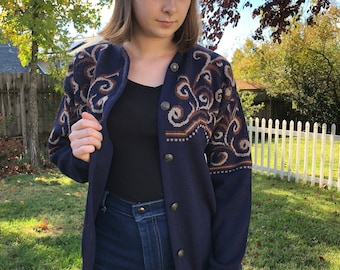 Vintage 70s Pendleton Wool Sweater Navy  blue - Small
