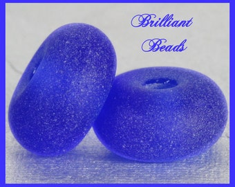 """Frosted Intense Blue...""""Sea Glass"""" Spacer Bead Pair...Handmade Lampwork Beads SRA, Made To Order"""