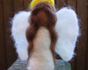 Needlefelted Angel with Dark Brown Hair - Waldorf Style for Christmas Decoration, Ornament or Nativity