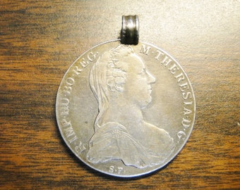 1780 Austria Maria Theresa Silver Thaler Necklace Pendant - Very Nice - Great Piece!