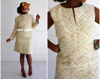 Vintage 50s/60's Chic Zig Zag Chevron Print Shift Dress with Matching Cropped Belted Jacket Two Piece Set by Joseph Magnin | Medium