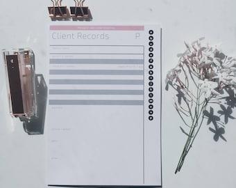 Client Record Book - Colour/Black & White - A4 - Instant PDF Download - 135 pages