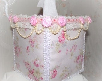 Lt PInk Shabby Roses Fabric TISSUE COVER for Square Tissue Box Draped Pearls Pink Rose