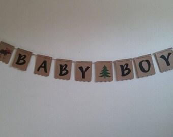 Lumberjack Baby-RED & BLACK buffalo plaid moose baby banner-moose baby boy banner