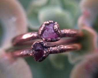 Ring Set | Ruby Sapphire | Ruby Rings | Raw Minerals | Sapphire Ring | Raw Ruby Rings | Ruby | Size 5 | Ready-To-Ship